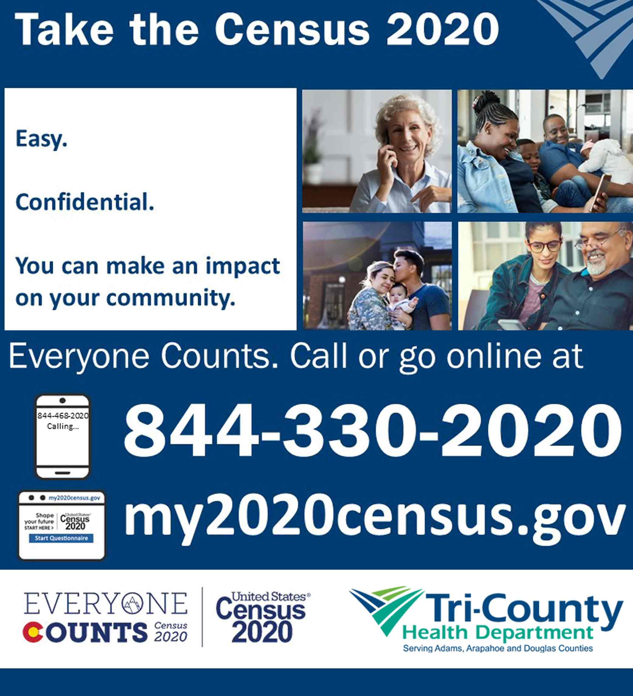 Four images of people on the phone or with their families with info to take the census
